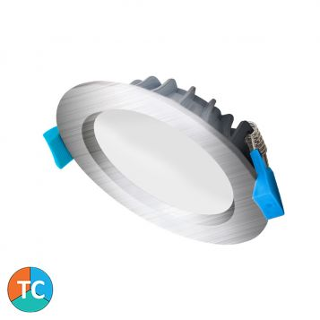 9w Aurora Wide Beam Tri-Colour LED Downlight - Brushed Nickel