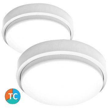 L2U-9208 (IP65) White Polycarbonate Tri-Colour LED Oyster Light