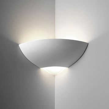 L2-6227 Ceramic Corner Wall Light with Frosted Glass