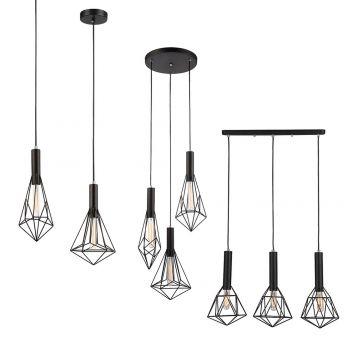 L2-11353 Black Metal Cage Pendant Light Range