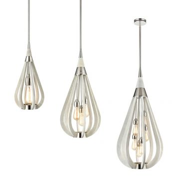 L2-11355	Polished Nickel & Winter Moss Finish Wood Pendant Light Range