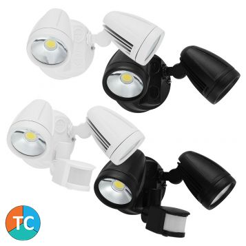L2U-41214 30w Twin Head Tri-Colour LED Spotlight Range with Optional Sensor