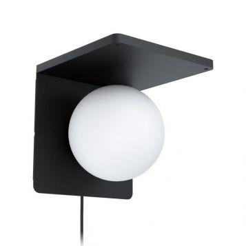 L2-6192 Black Wall Light with Wireless Qi Charging Dock