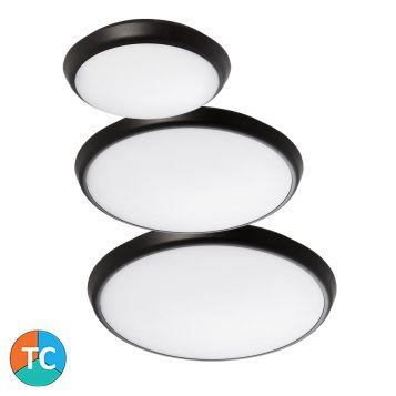 L2U-9222 Round Tri-Colour LED Oyster Light Range - Black