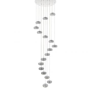 L2-11076 17-Head LED Chrome/Crystal Pendant Light