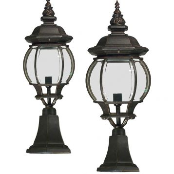 L2-7129 Traditional Exterior Pillar Mount Light Range - Antique Bronze from