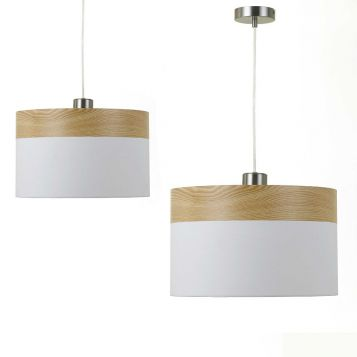 L2-1695 Oak with White Pendant Light From