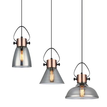L2-11010 Copper with Smoke Glass Pendant Light Range from