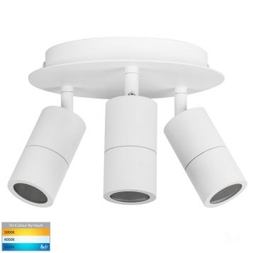 L2U-41129 3-Light Round Exterior LED Spot Light - White