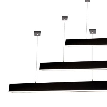 L2-1799 High Output Black LED Linear Pendant Light - 80mm x 92mm (2m to 3m) from