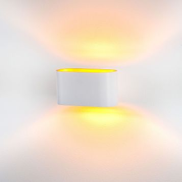 L2-6314 White with Gold Insert Aluminium Wall Light with LED Lamps