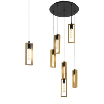 L2-11067 Black and Wood Pendant Light Range