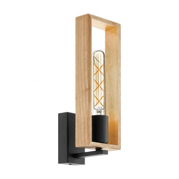 L2-6188 Black and Wood Wall Light