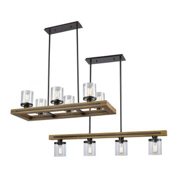 L2-11375 Bronze and Wood Linear Pendant Light Range