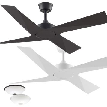 Modern 1320mm Aluminium 4 blade Ceiling Fan with Optional LED Light