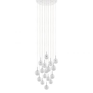 L2-1568 Crystal LED 17 Light, Round Base Pendant