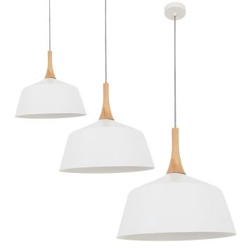L2-11376 White Metal with Wood Top Pendant Light Range