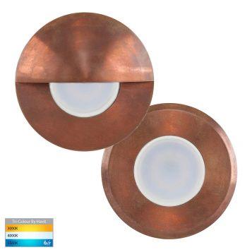 L2U-4593 Copper 12v LED Wall/Step Light with optional Eyelid