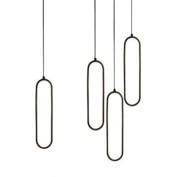 L2-11193 Oval LED Pendant Light Range - Black