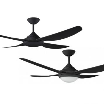 Royale II 1320 Precision Moulded ABS Blade Ceiling Fan with Optional LED Light - Black