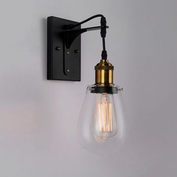 L2-6415 Black and Antique Bronze Wall Bracket Light