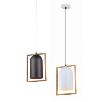 L2-11389 Metal with Wood Frame Pendant Light Range