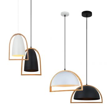 L2-11390 Metal Dome with Wood Frame Pendant Light Range