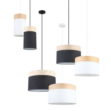 L2-11393 Fabric with Wood Top Drum Pendant Light Range from