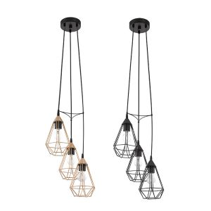 L2-1544 3 Light Metal Cage Cluster Pendant Light