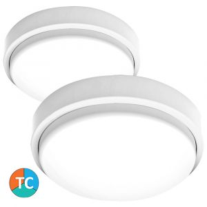 L2U-9208 (IP65) White Polycarbonate Tri-Colour LED Oyster Light from