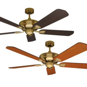 Healey 1300 Tropically Rated Ceiling Fan - Antique Brass