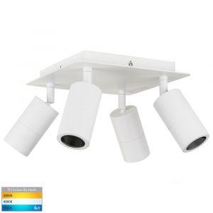 L2U-41129 4-Light Square Exterior LED Spot Light - White