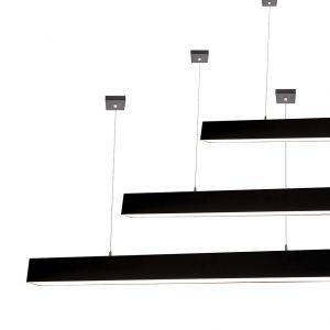 L2-1799 High Output Black LED Linear Pendant Light - 80mm x 92mm (2m to 3m)