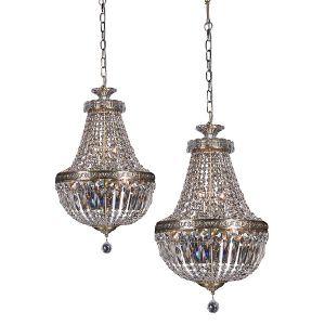 L2-1826 Antique Brass Basket Crystal Chandelier