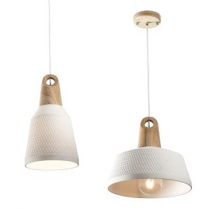 L2-1991 Ceramic with Oak Timber Top Pendant Light Range from