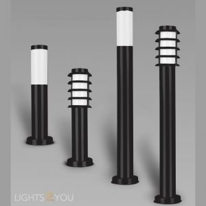 L2U-4160 Black Coated Stainless Steel Outdoor Bollard Lights from