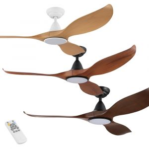 "Noosa 1320mm (52"") DC Timber Finish ABS Blades Ceiling Fan with LED Light & Remote"