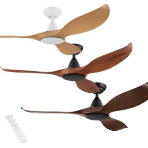 "Noosa 1320mm (52"") DC Timber Finish ABS Blades Ceiling Fan with Remote"