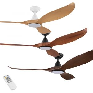 """Noosa 1520mm (60"""") DC Timber Finish ABS Blades Ceiling Fan with LED Light & Remote"""