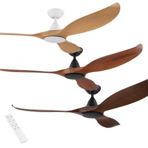 "Noosa 1520mm (60"") DC Timber Finish ABS Blades Ceiling Fan with Remote"
