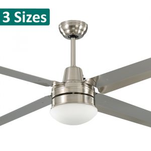 Precision Brushed Nickel Stainless Steel Ceiling Fan with Light from