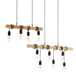 L2-1740 Black Cable / Timber Pendant Light Range - 3 Sizes