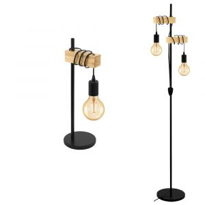 L2-5604 Black Cable / Timber Table & Floor Lamp Range